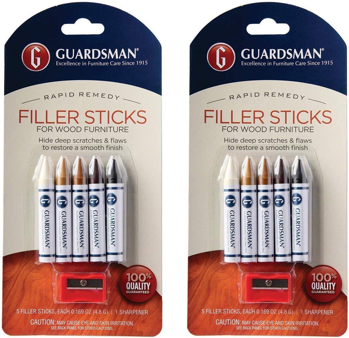 Guardsman Wood Repair Filler Sticks - 5 Colors Plus Sharpener - Repair and Restore Scratched Furniture - 2 Pack
