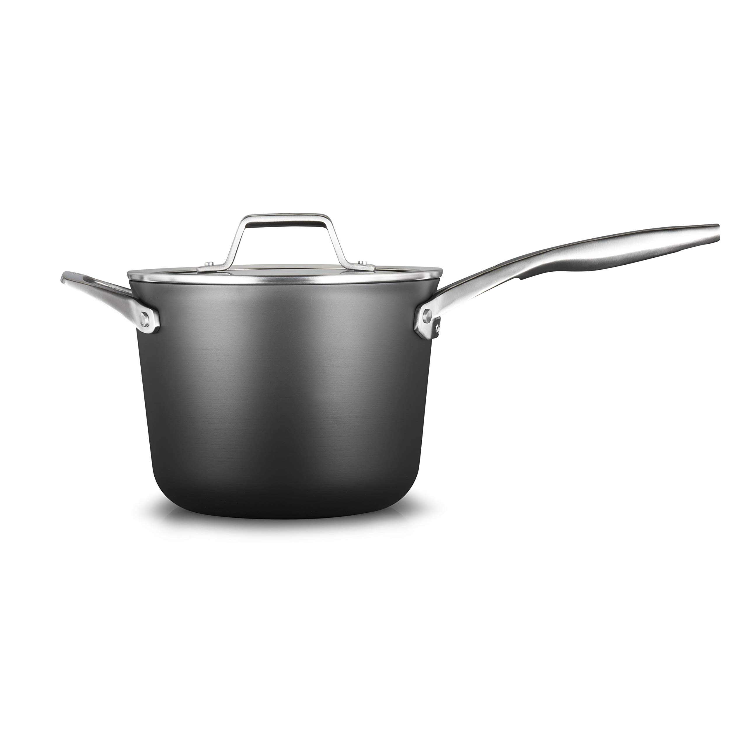 Calphalon 2029648 Premier Hard-Anodized Nonstick 4.5-Quart Saucepan with Cover, Black