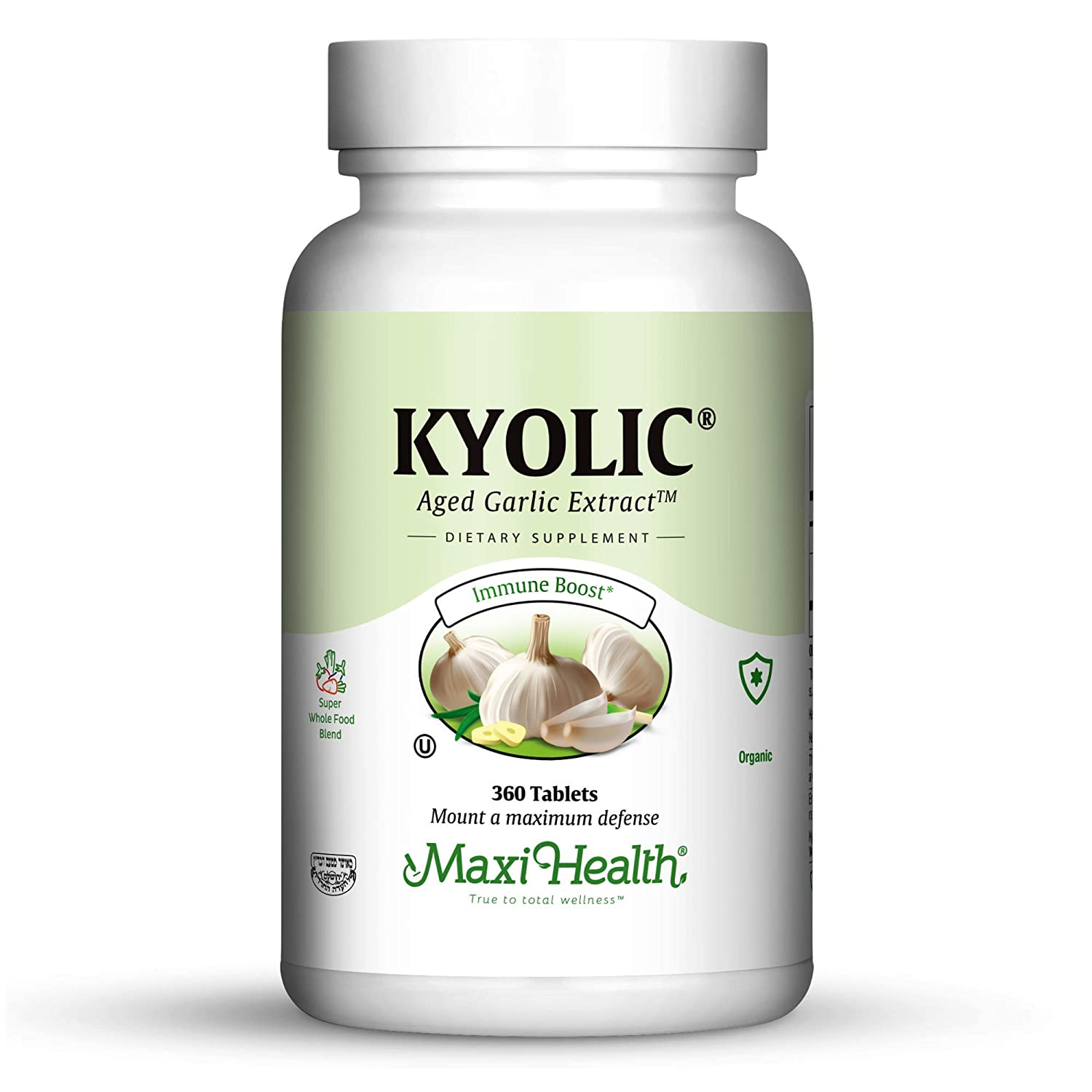 Maxi Health Kyolic 400 Aged Garlic Extract – Immune Booster, 360 Extra Strength Tablets, Kosher