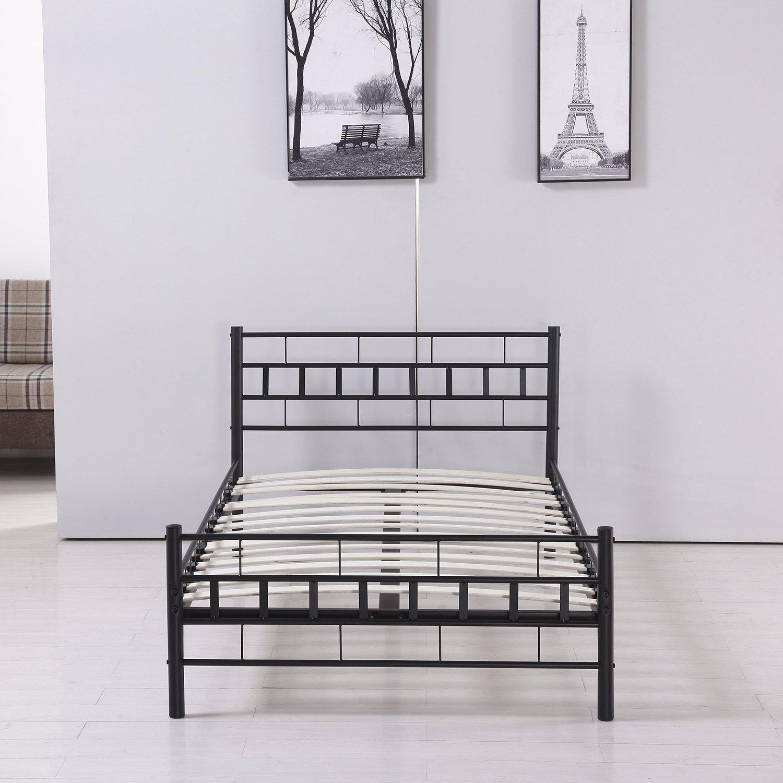 "Sliverylake Twin Size Metal Frame Platform Bed Bedroom with Headboard Mattress Foundation Furniture ( 39""Lx75""W )"