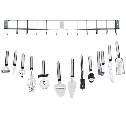VonShef Set di utensili da cucina in acciaio inox, 12 pezzi, con ...