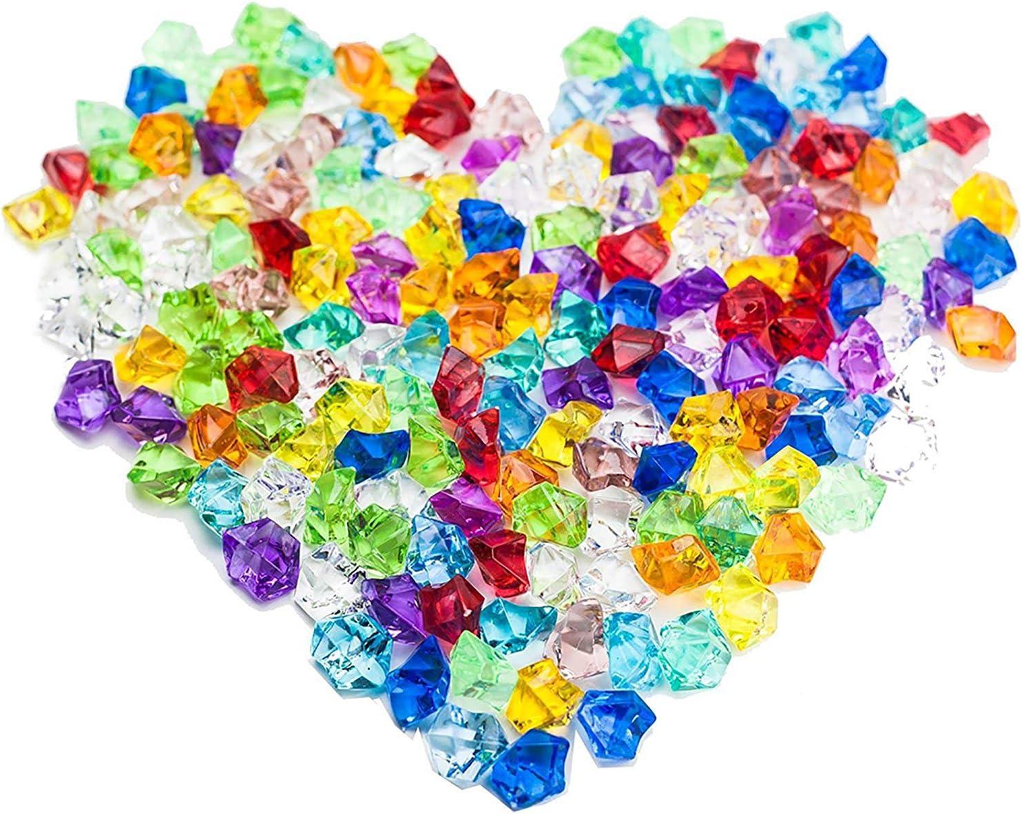 250Pcs Gemas acrílicas de colores en forma de diamante,Gemas De Plastico Piedras De Colores Niños Joyas Acrílico Ideal para Juguetes para Niños,Vistas A La Piscina,jarrones,bodas,decoración de mesa