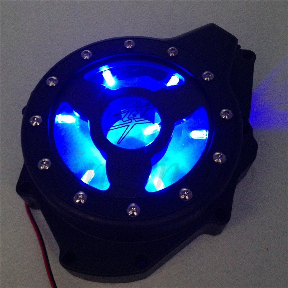 NBX- Blue LED Glass See Through Engine Cover For Suzuki Gsx1300R Hayabusa 99 13 Black