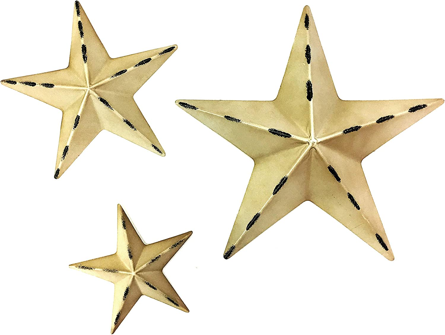 Bellaa 24148 Star Wall Decorative Farmhouse Barn Stars Western Texas 12 and 8 and 6 inch Design Wall Decor Sets Metal Art White Rustic Outdoor