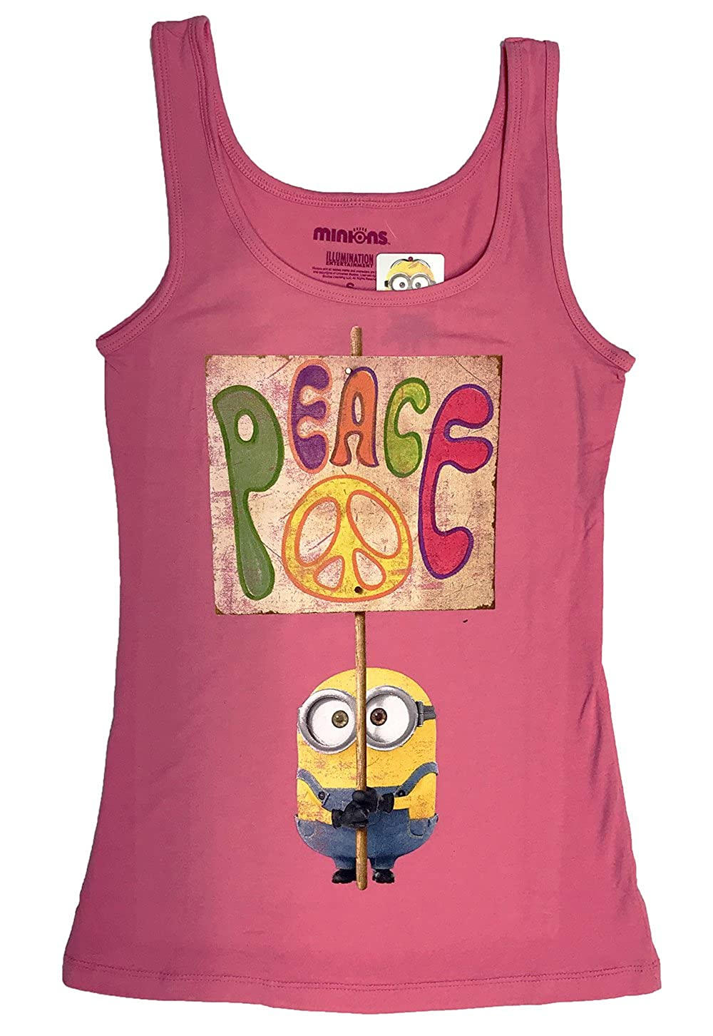 Minion Holding Peace Sign Girl's Youth Hot Pink Tank Top