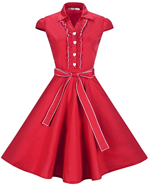 a01c9f1295221 TENCON Women 1950s Cap Sleeves Belted Vintage Cotton Casual Swing Dress in  Red L