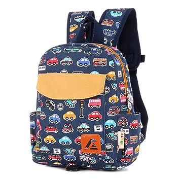 Mochila infantil de tela de Techor, para estudiantes, escuela, jardín de infancia, Blue Bus: Amazon.es: Deportes y aire libre