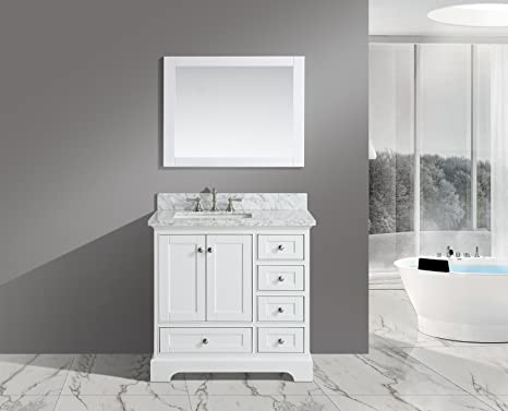 Amazon Com Urban Furnishing Jocelyn 36 Inch 36 Bathroom Sink Vanity Set With White Italian Carrara Marble Top White Home Kitchen