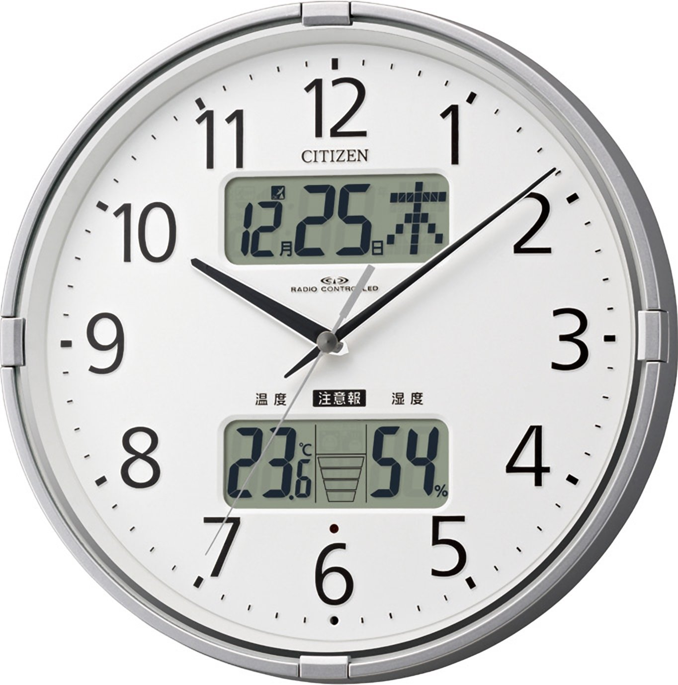 CITIZEN 【高精度温湿度計】【警告音】付電波掛時計 インフォームナビF シルバー色 4FY618-019 B00GXT1NAS