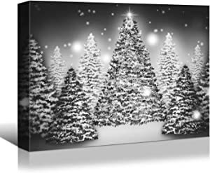 Looife Merry Christmas Canvas Wall Art, 40x30 Inch Black and White Xmas Tree Picture Prints Artwork Wall Decor, Gallery Wrapped Art Deco for Gift Choice
