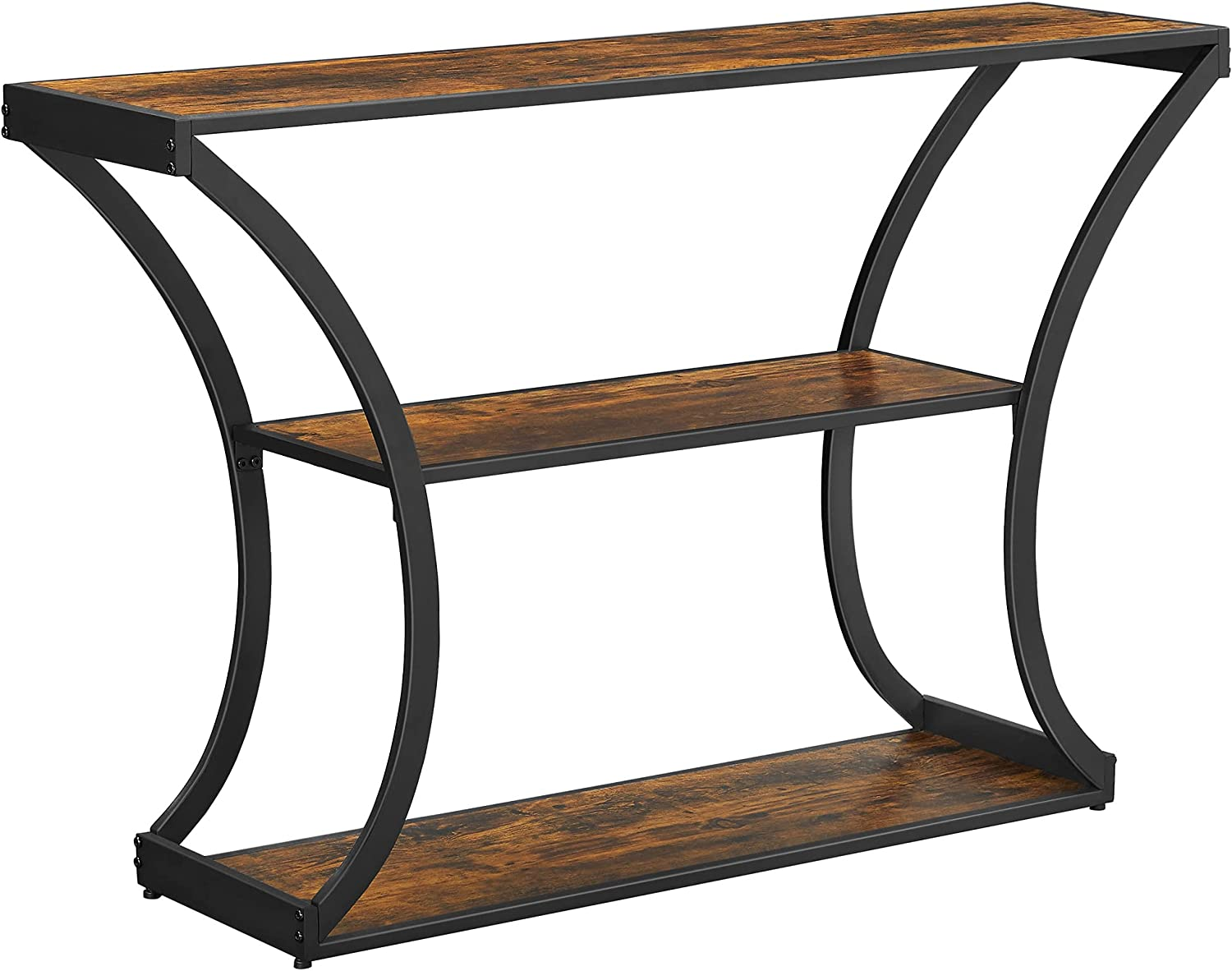 VASAGLE Console Table, Sofa Table, Entryway Table with Curved Frames, Long Table Top, 2 Open Shelves, for Hallway Entryway Living Room, Rustic Brown and Black ULNT089B01