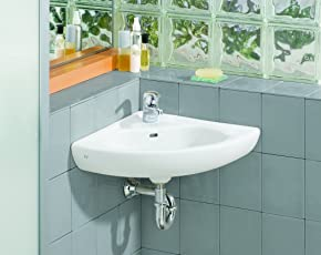 Gentil Cheviot Products Inc. 1350 WH 1 Wall Mount Corner Sink, White