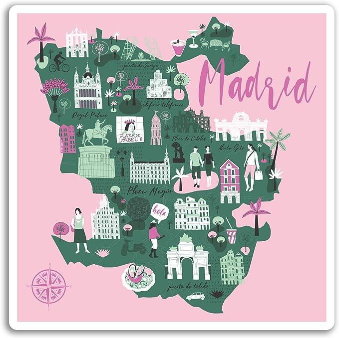 2 x 10cm Madrid Mapa pegatinas de vinilo - Viajes España Etiqueta ...