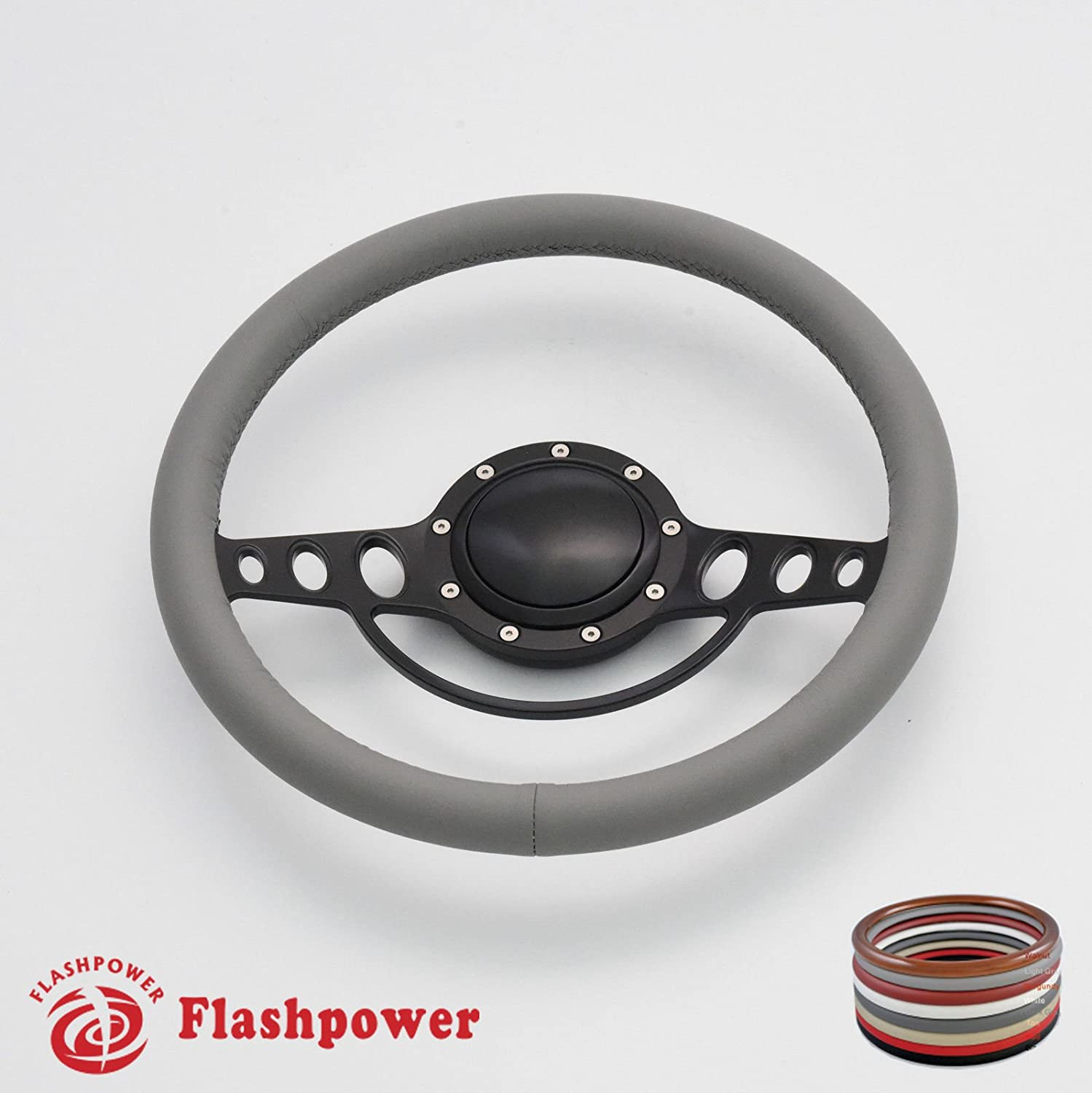 Flashpower 14 Good Times Billet Full Wrap 9 Bolts Steering Wheel with 2 Dish and Horn Button Tan