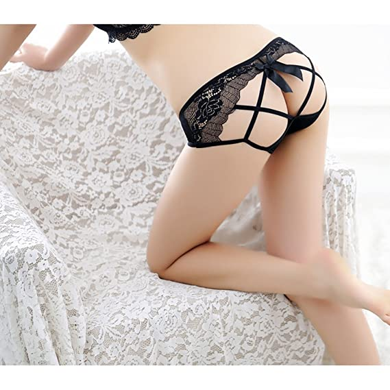 2e18e7a371 LANXI Women s Panties Open Butt Lace Transparent Underwear Women Sexy Thong  (Black) at Amazon Women s Clothing store
