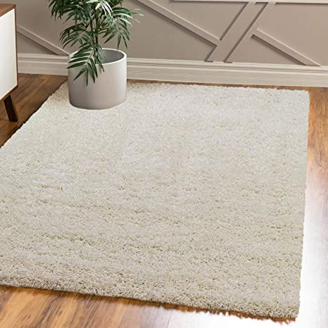 Fb Funkybuys Large Small Modern Soft Touch Shaggy Thick Luxurious 5 Cm Dense Pile Bedroom Rug Available In 12 Vibrant Colours 4 Sizes Cream 120 X 170 Cm Amazon Co Uk Kitchen Home