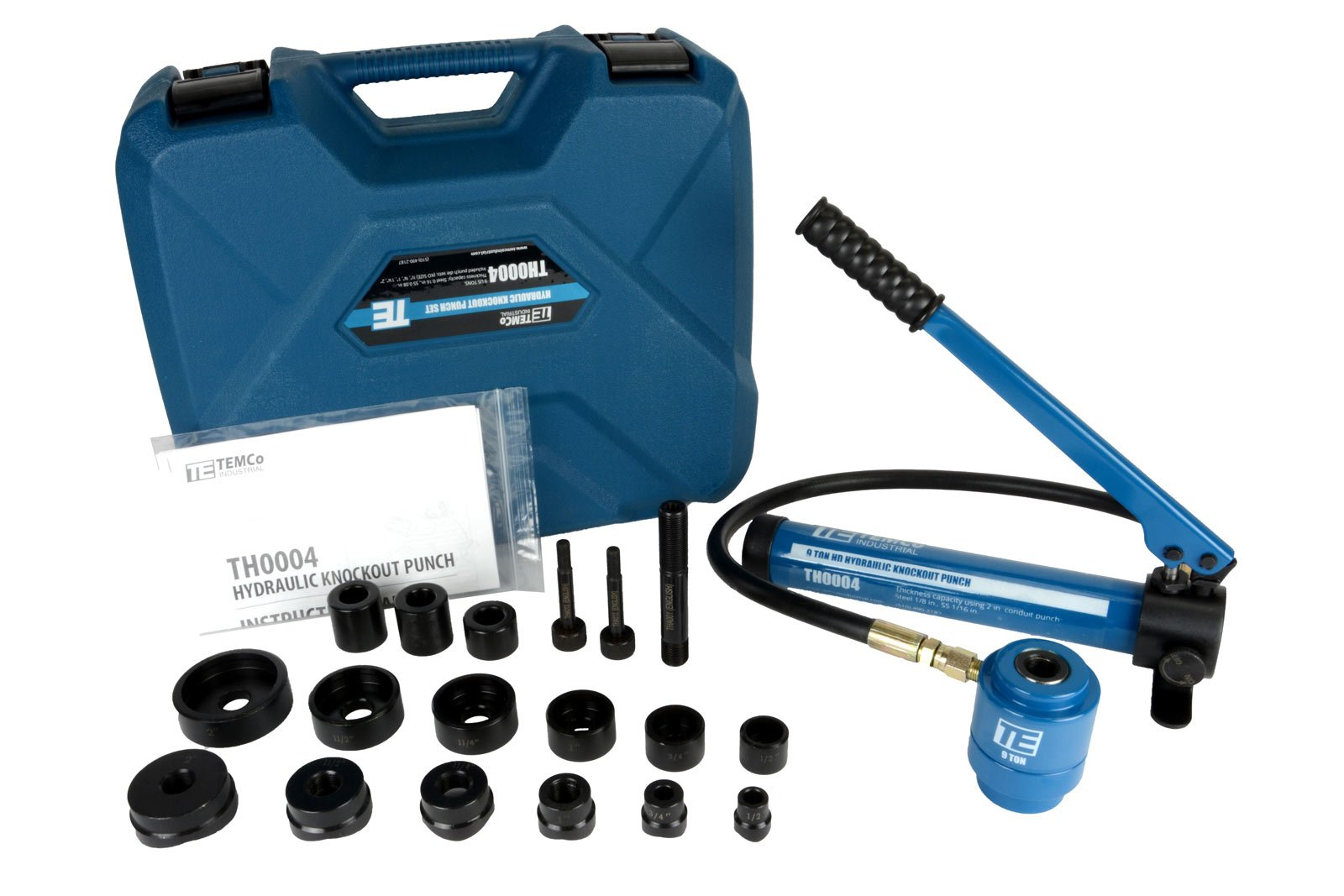 TEMCo Hydraulic Knockout Punch TH0004 - Electrical Conduit Hole Cutter Set KO Tool Kit 5 YEAR WARRANTY by Temco