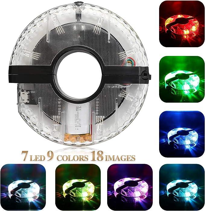 TAGVO Mejorar Ciclismo luz Hub, 7 LED 9 Colores 18 imágenes ...