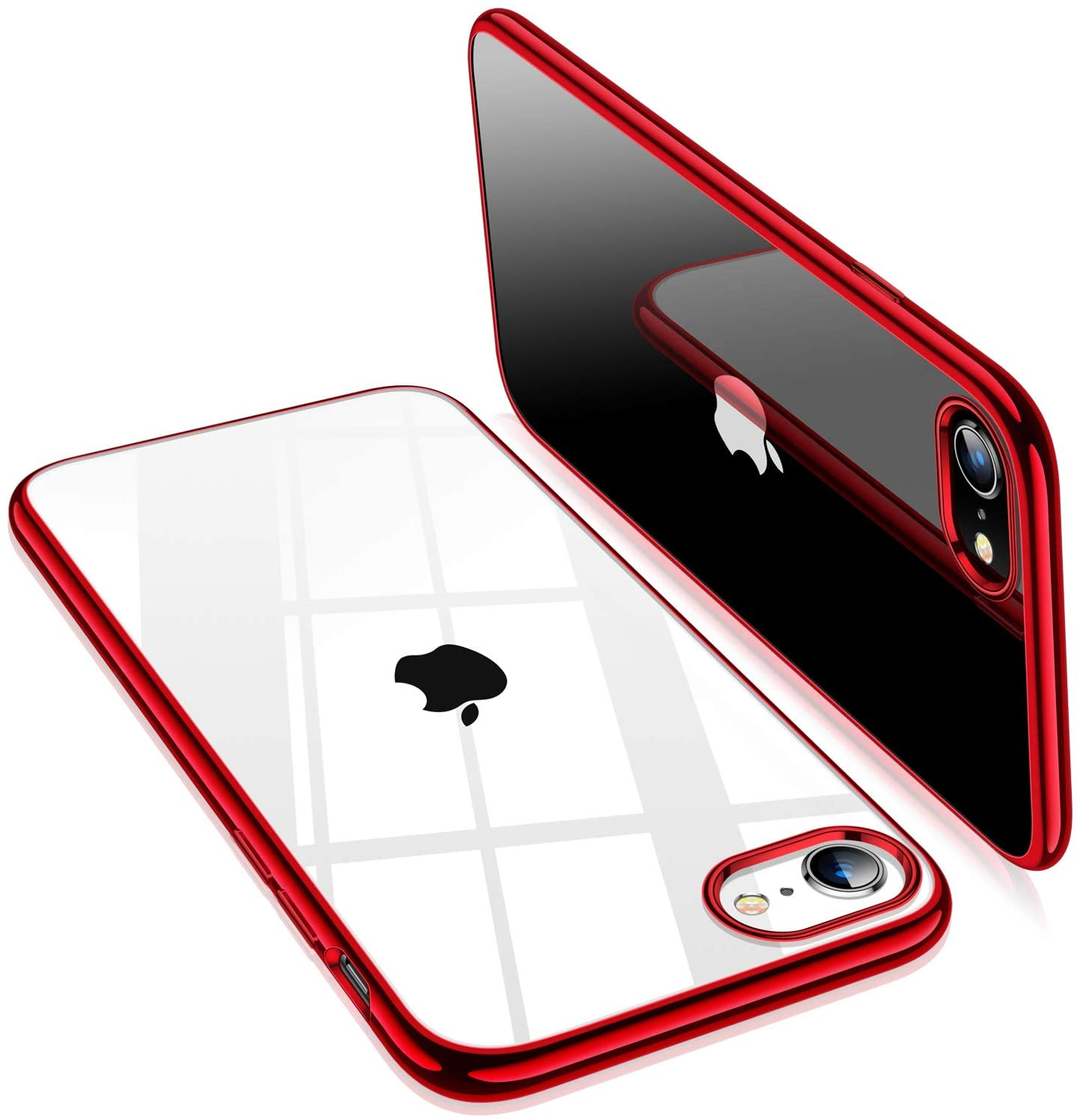 Amazon Com Torras Crystal Clear Compatible For Iphone Se 2020 Case Compatible For Iphone 8 Case Soft Slim Thin Shockproof Designed For Iphone 7 Case 4 7 Inch Red