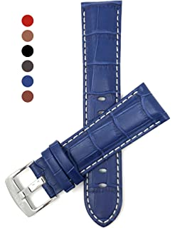 ff414fdaf7b 22mm Shiny Blue High-end Leather Watch Straps Oily Glossy Vintage ...