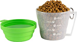 Mirecek Maxy Dog Food Travel Container, BPA-Free Pet Food Storage Container, Portable Collapsible Bowl and Measuring Cup Combo for Pet Travel, Reusable Plastic Bowl for Cats and Dogs