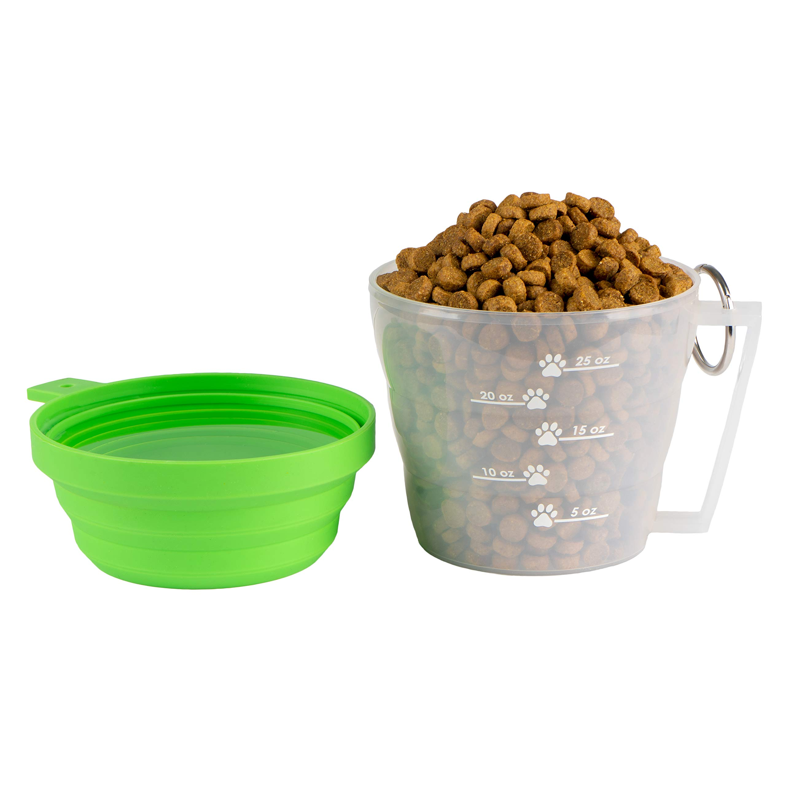 MAXY Dog Food Travel Container, BPA-Free Pet Food Storage Container, Portable Collapsible Bowl and Measuring Cup Combo for Pet Travel, Reusable Plastic Bowl for Cats and Dogs - Mirecek by Mirecek