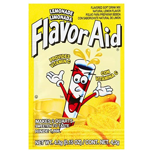 Amazon.com : Flavor Aid Unsweetened Lemonade Drink Mix 1 EACH (Pack of 20) + (6 Pack of M&M Milk Chocolate 1.69oz) : Grocery & Gourmet Food