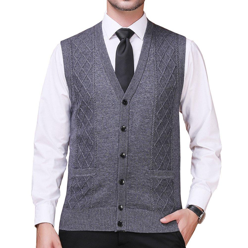 FULIER Mens Winter Wool V-neck Gilet Sleeveless Vest Waistcoat Casual Gentleman Warm Business Knitwear Cardigans Knitted Sweater Tank Tops (M, Dark gray)