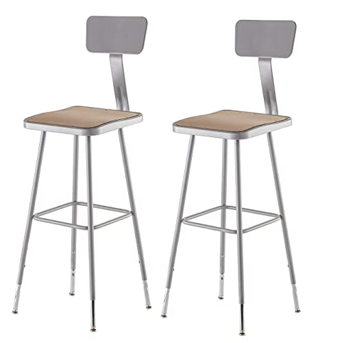National Public Seating 6330HB-CN 2 Pack 32 -39 Height Adjustable Heavy Duty Square Seat Steel Stool with Backrest Grey