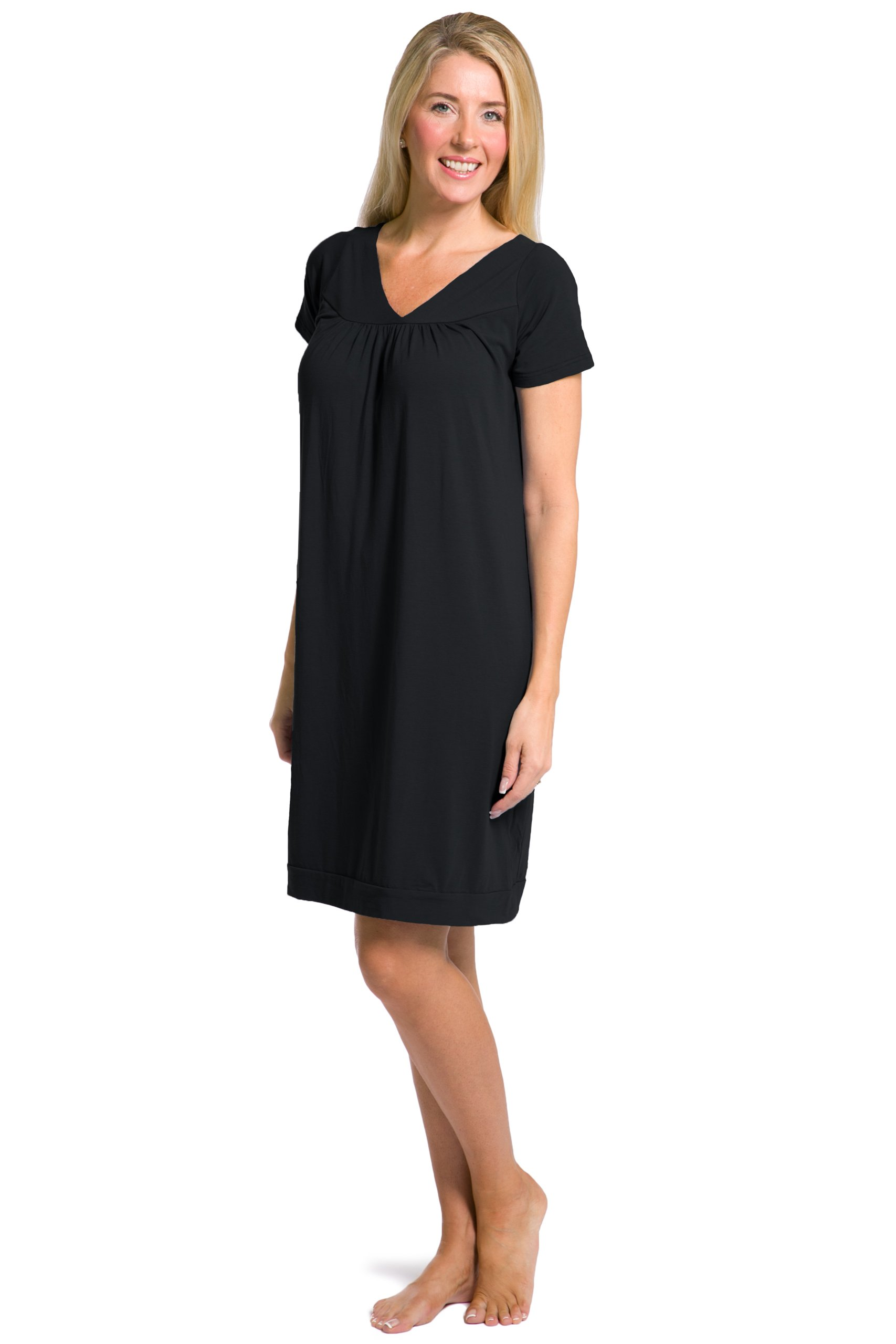 Fishers Finery Women's Tranquil Dreams Short Sleeve Nightgown Comfort Fit, Black, Large