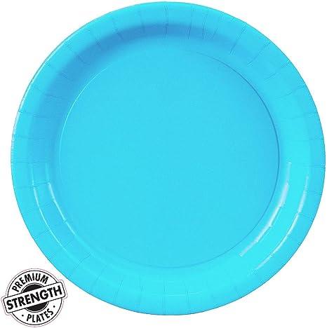 Party plates with aqua stripes and silver foil scalloped edges Aqua mint white Aqua and silver paper plates and silver plate Set of 8