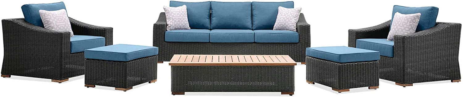 La-Z-Boy Outdoor New Boston 6 Piece Wicker Patio Set: Sofa, Two Lounge Chairs, Two Ottomans and Coffee Table (Denim Blue)