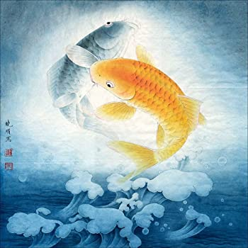 Amazon.com: INK WASH Giclee Prints Pictures of 2 Feng Shui Carp ...