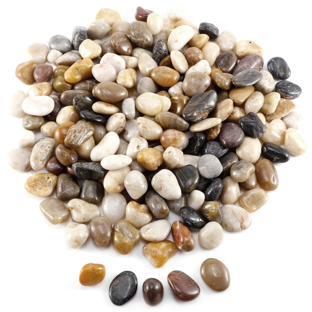 Anladia 5LBS 2.26kg 10-20mm Natural Color River Stones Pebbles, Decorative Stones for Gardens and Craft Projects