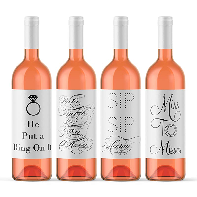 Bride-to-Be Set of 4 Bridal Shower /& Classy Bachelorette Party Decorations for Women Wine Bottle Label Stickers
