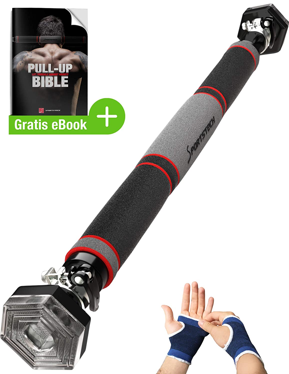 Sportstech Pull-up Bar with patented hexagonal system KS200 - with 3-layer  padding, safety tension lever, 6 pressure points & exceptional design,