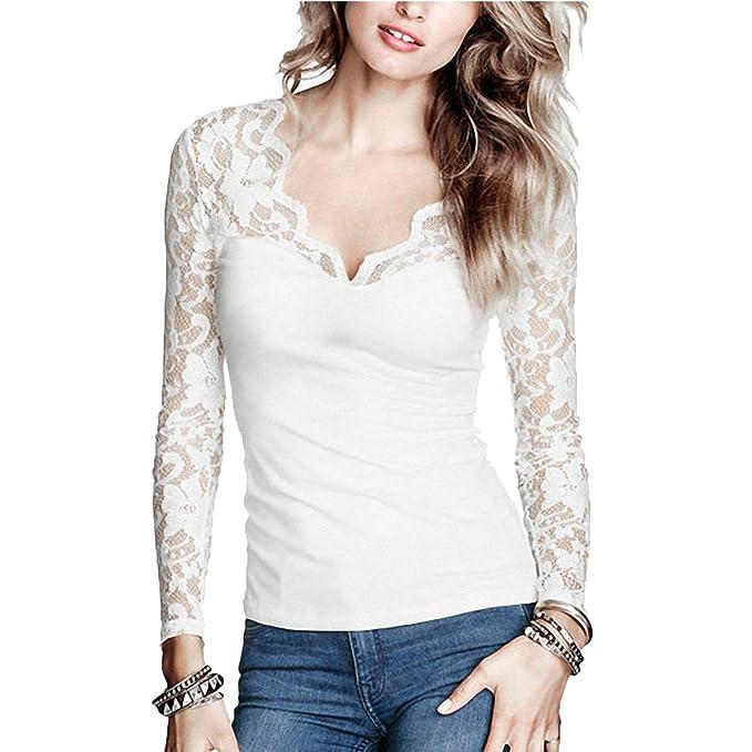 Camisetas elegante manga larga y encaje, escote V.