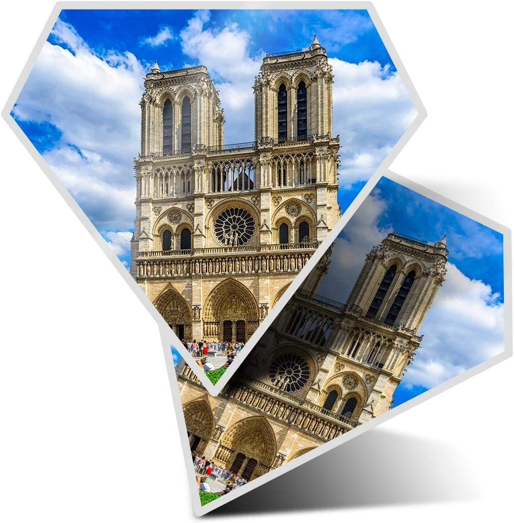 Awesome 2 x Diamond Stickers 7.5 cm - Notre Dame de Paris Cathedral France Fun Decals for Laptops,Tablets,Luggage,Scrap Booking,Fridges,Cool Gift #16173