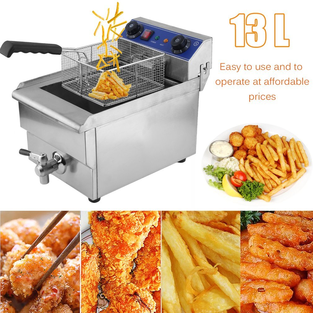 Electric Deep Fryer, 13L 1.65KW Multifunctional French Fries Machine -Temperature Control Timing Stainless Steel for Household Commercial Restaurant (Sliver 13L)