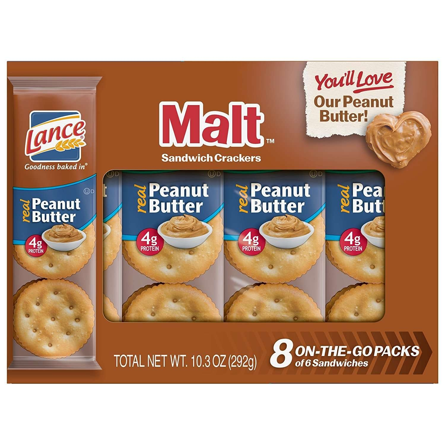 Lance Sandwich Crackers, Malt with Peanut Butter, 8-Count Boxes (Pack of 14)