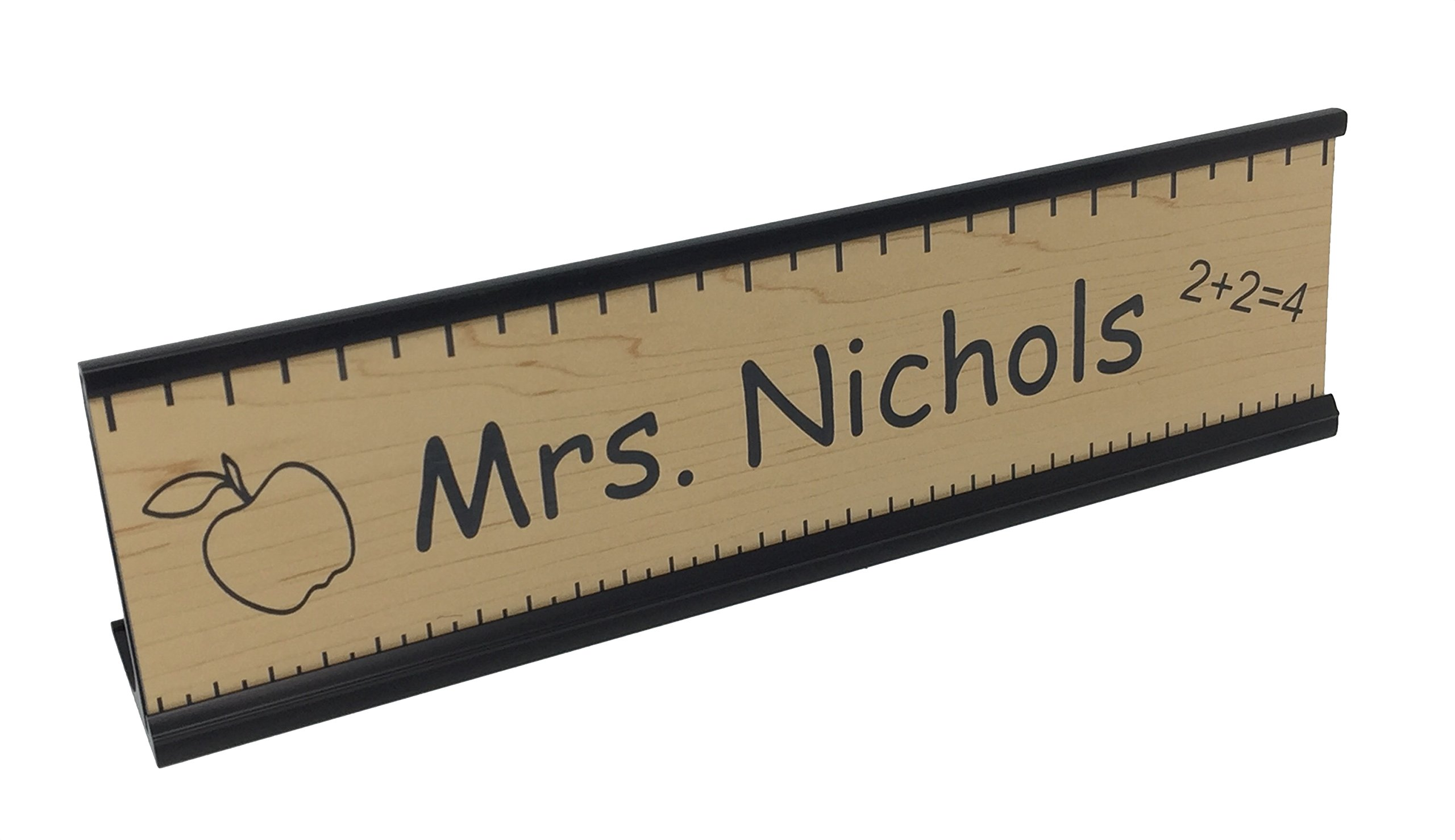 Teacher Office Desk Name Plate or Door Sign with or w/o holder - Free Engraving - Great Gift for School Teacher! (With Gold Wall Holder)