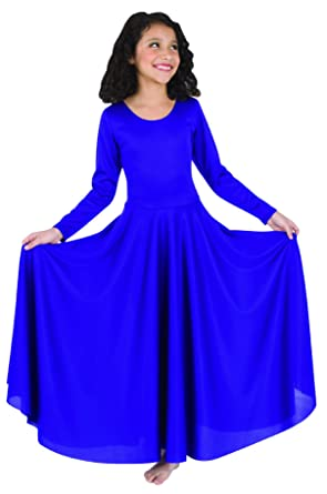 0e6164d4be10d Amazon.com: Body Wrappers 588 / 588XX Womens Praise Loose Fit Long Sleeve  Dance Dress: Clothing