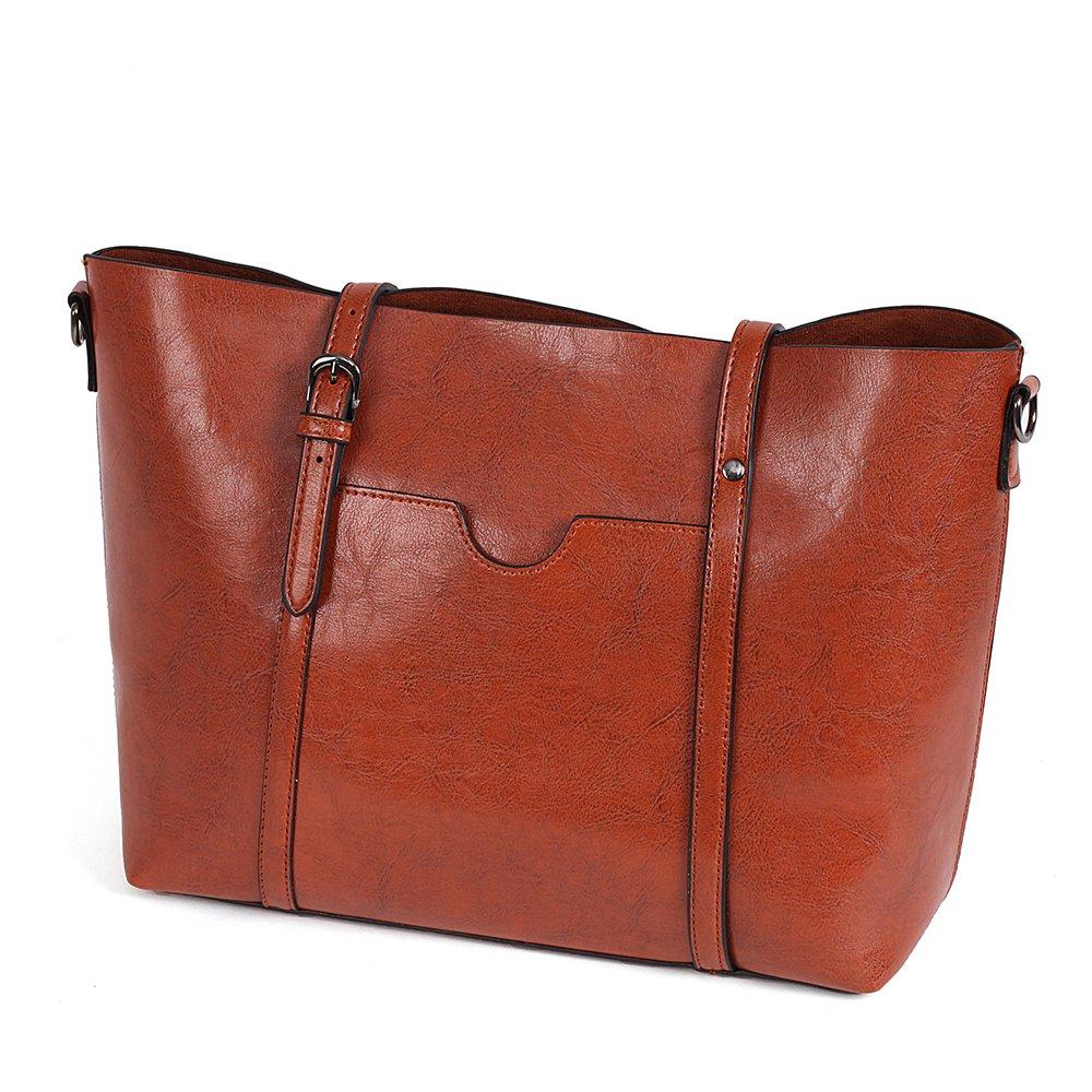 Vovoye Faux Leather Large Size Women's Adjustable Designer Shoulder HandBags handbag-800-Coffee