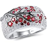 925 Sterling Silver Ring Delicate Pink Cherry Tree Created Ruby Shiny White Cubic Zirconia