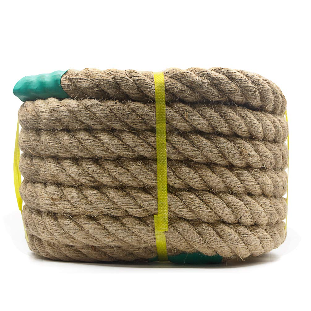 Aoneky Jute Rope 1 1//2 inch x 50 Feet Decorate Tug of War 1.18//1.5 Inch Twisted Hemp Rope for Crafts Climbing Cat Scratching Post Anchor Nautical Hammock