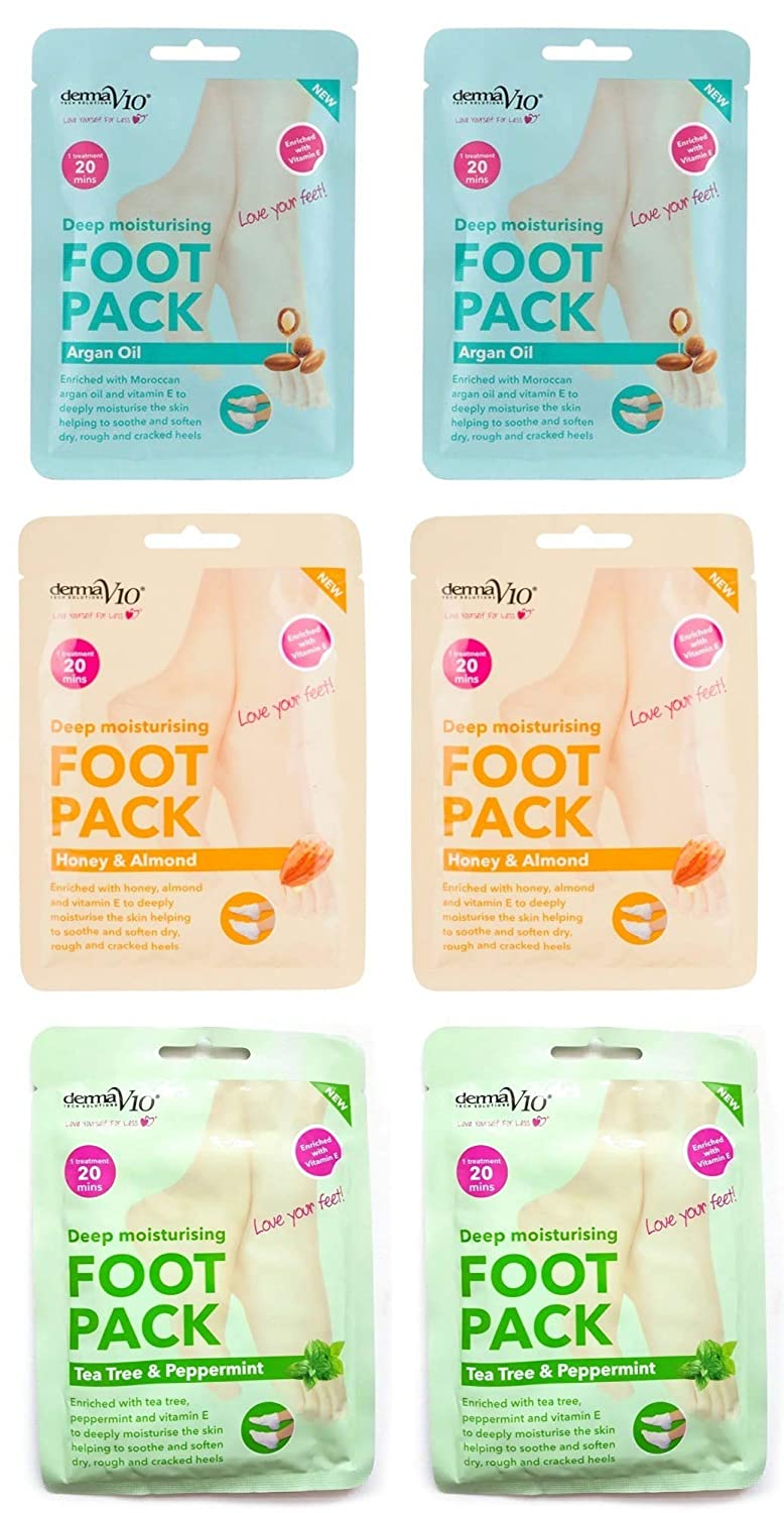 Derma V10 Foot Pack Mask (6 Pack) Deep Moisturising Tea Tree and Peppermint, Honey and Almond and Argan Oil Variety Bundle