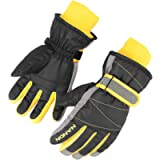 AMYIPO Kids Winter Snow Ski Gloves Children Snowboard Gloves for Boys Girls (Black, S)