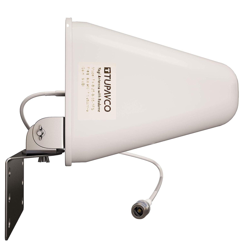 5 GHz // 5,8 GHz Tupavco DB541 Yagi WiFi-Antenne Dual Band - Medium Range Directional Wireless LAN Netzwerk-Antenne Wei/ß 2,4 GHz und 9dBi