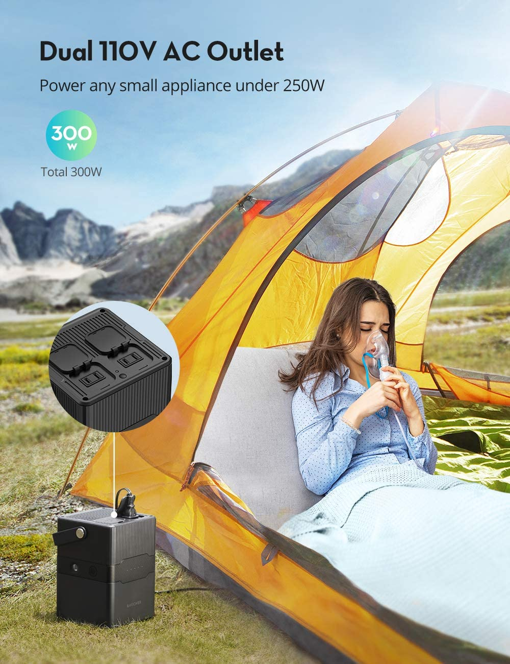 Portable Power Station RAVPower 252.7Wh 70200mAh Solar Generator,Dual 110V 300W Pure Sine Wave AC Outlet,60W PD and 120W DC Port Backup Lithium Battery for Outdoors Camping Travel Hunting Emergency