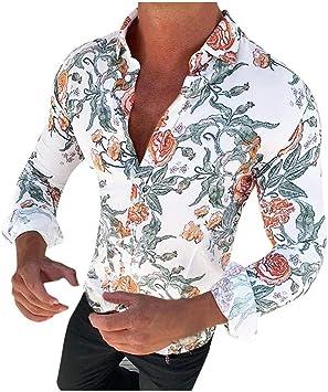 ღLILICATღ Polo de Hombre, Blusa Estampada Flor de la Moda del Hombre Tops Camisetas de Manga Larga Casual Tops para Hombre Camisas de Clásico de la Moda Manga Larga Estampada de Hombre: